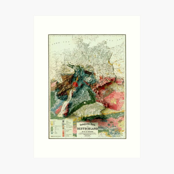 1869 Germany Relief Map 3D digitally-rendered Art Print