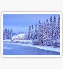 Winter Home On Alaska River Sticker