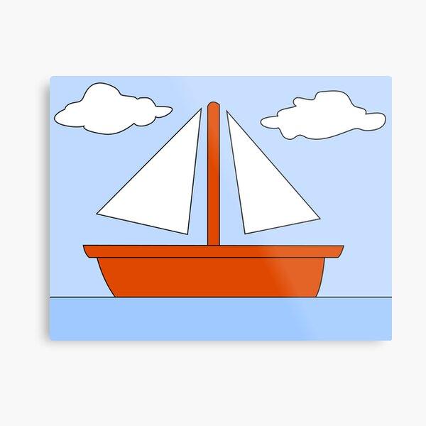 Cartoon Boat Picture Metal Print