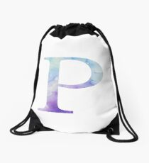 Blue Rho Watercolor Letter Drawstring Bag