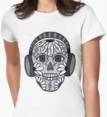 """Skull - """"What music means ..."""" Women's Fitted T-Shirt"""
