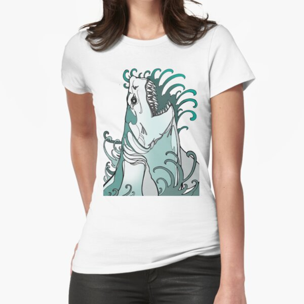 megalodon, great white, shark attack Fitted T-Shirt