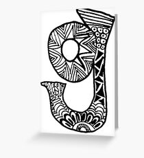 """Hipster Letter """"G"""" Zentangle Greeting Card"""