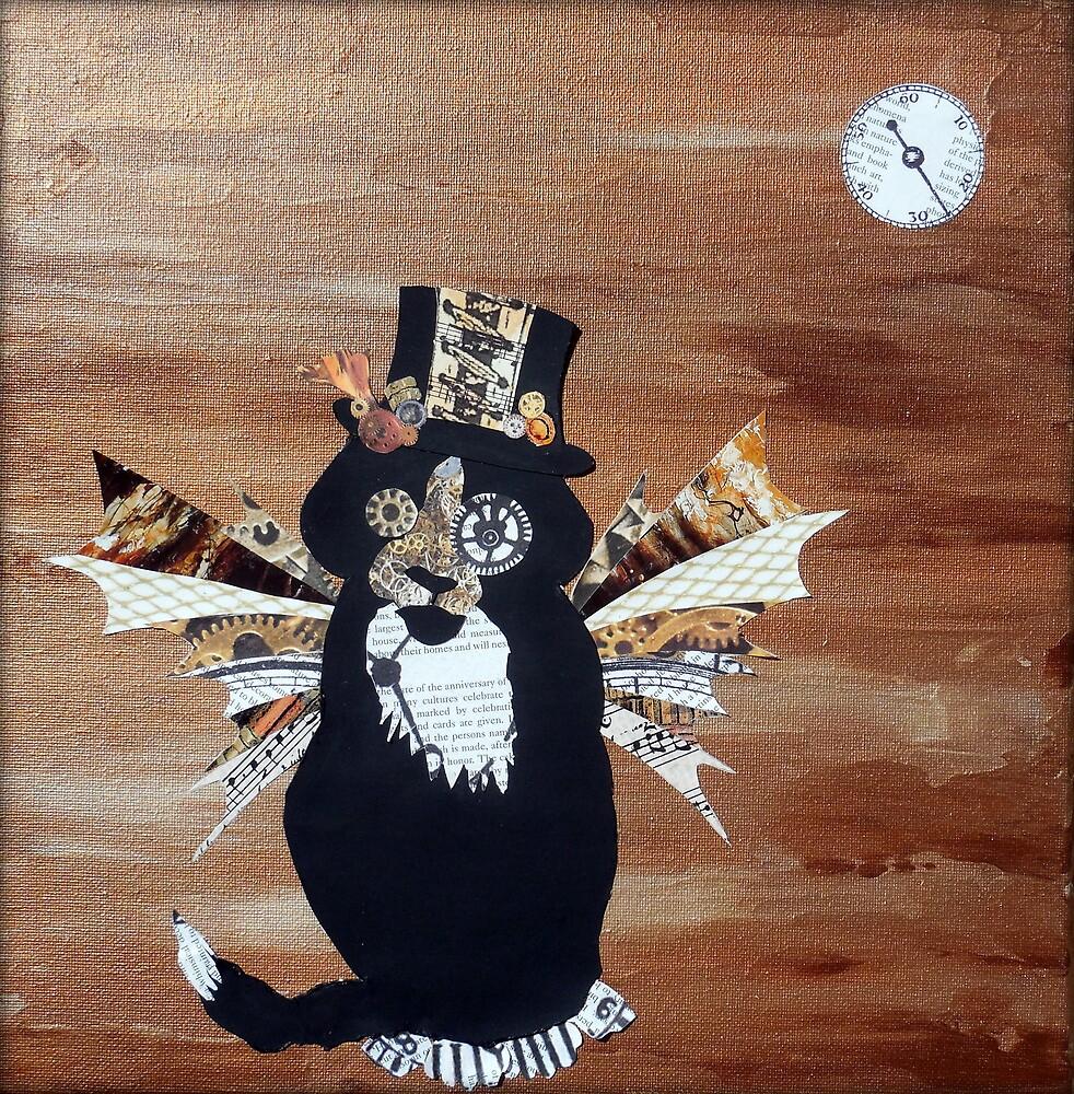 Abstract Cat Art STEAMPUNK SEBASTIAN Mixed Media Collage