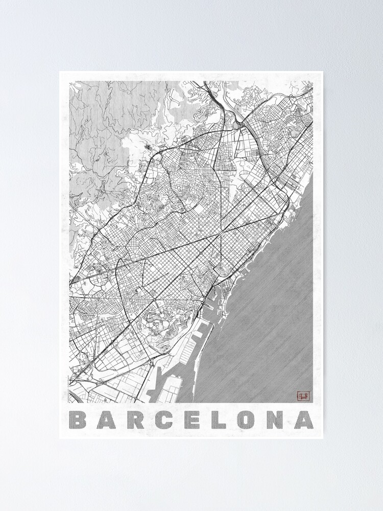 Alternate view of Barcelona Map Line Poster