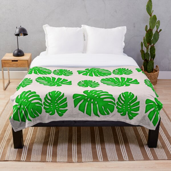 Painted Monstera - tropical leaves pattern Throw Blanket