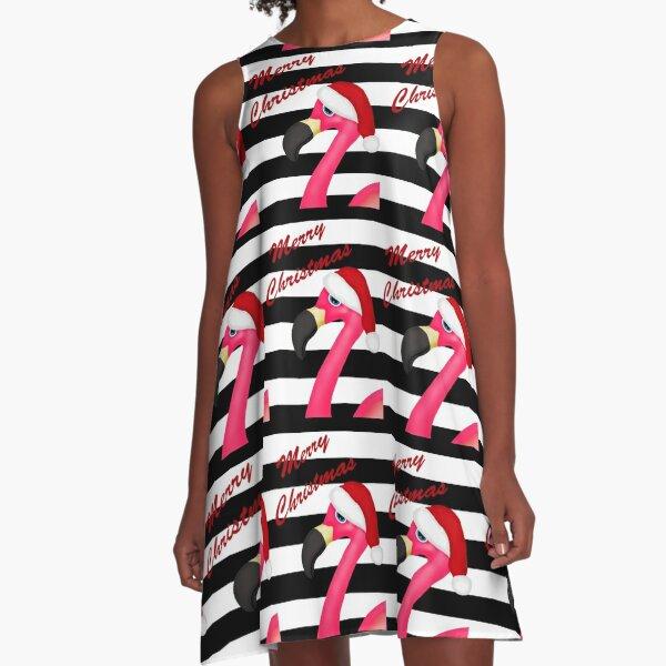 Pink Flamingo Christmas A-Line Dress