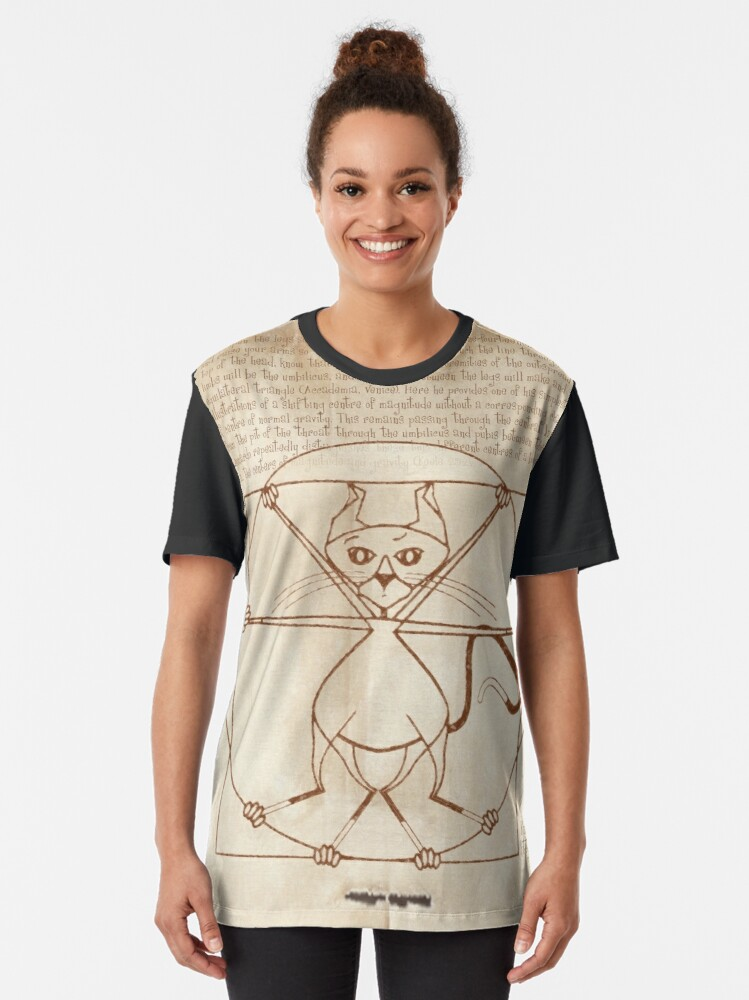 Alternate view of KINKY KITTY - The Kinky Vitruvian Kitty Graphic T-Shirt