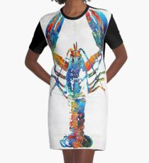 Colorful Lobster Art by Sharon Cummings Graphic T-Shirt Dress
