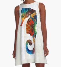 Colorful Seahorse Art by Sharon Cummings A-Line Dress