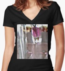 Sunlight through vase Women's Fitted V-Neck T-Shirt