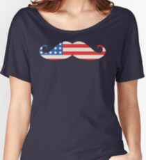USA Flag Moustache Women's Relaxed Fit T-Shirt