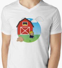 Farmer his barn Men's V-Neck T-Shirt