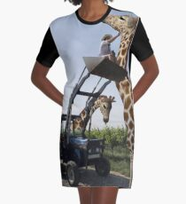 Tickle A Giraffe Graphic T-Shirt Dress