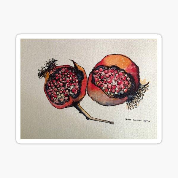 Pomegranate. Pen and wash. Sticker