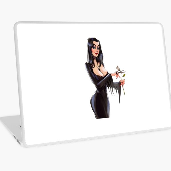 Morticia Addams with white rose  Laptop Skin