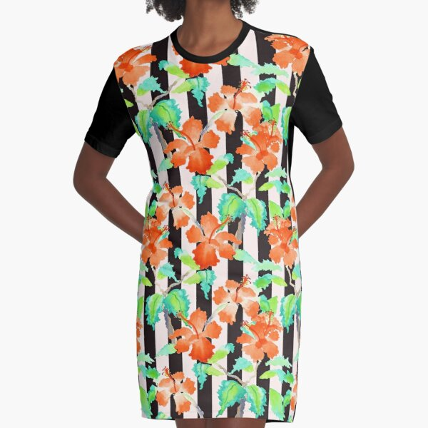 Watercolor Orange Hibiscus Black White Stripes Pattern Graphic T-Shirt Dress