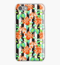 Watercolor Orange Hibiscus Black White Stripes Pattern iPhone Case/Skin