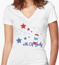 4th Of July Fireworks Women's Fitted V-Neck T-Shirt
