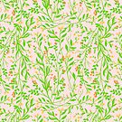 Tangled Botanical Grass Green, Orange and Pink by ThistleandFox