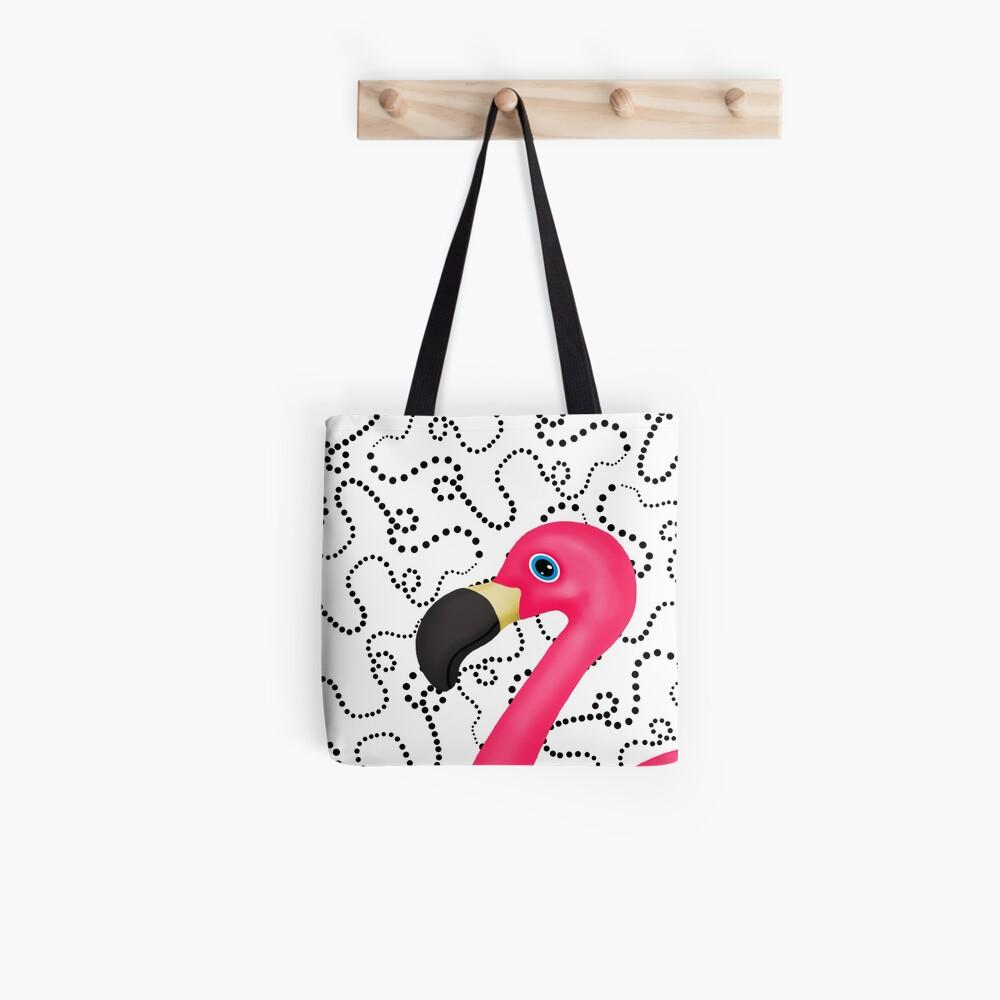 Pink Flamingo Black Dots Abstract Tote Bag