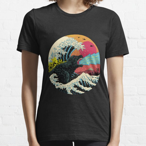 Art 90s Hokusai Kaiju Essential T-Shirt