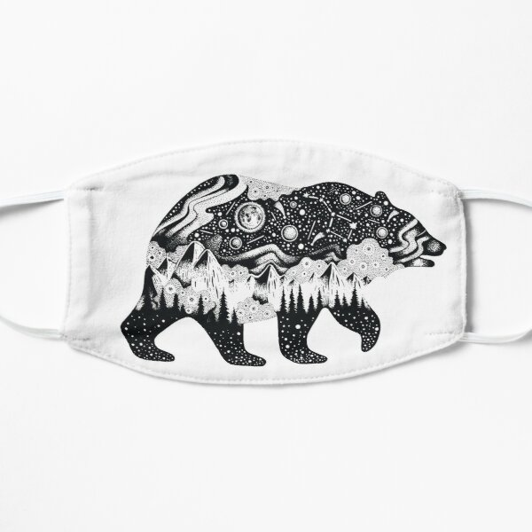 Bear Silhouette with trees, mountains, moon, and stars Flat Mask