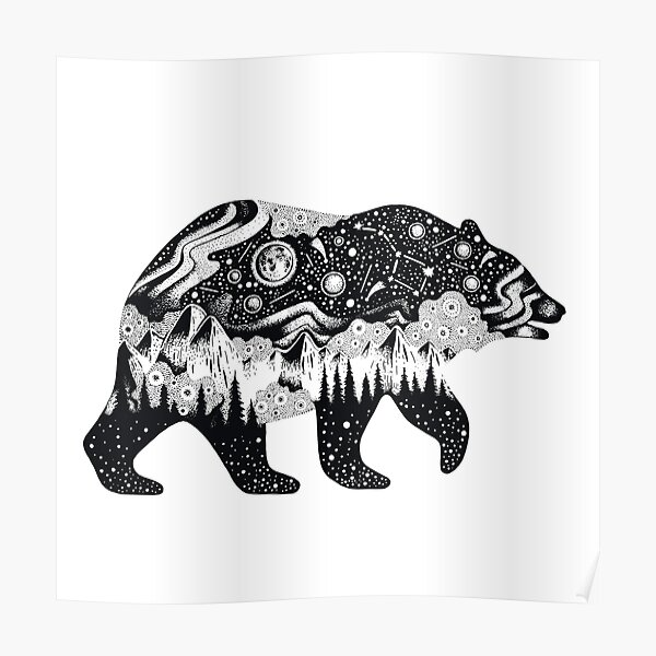 Bear Silhouette with trees, mountains, moon, and stars Poster