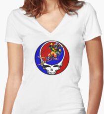 Grateful Dead Skiing Bear Women's Fitted V-Neck T-Shirt