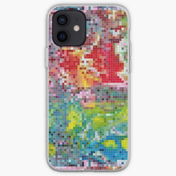 Pixelated Pattern from Acrylic Pouring Technique Painting - Colorful & Abstract  iPhone Soft Case