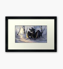 Toothless In Snow Framed Print