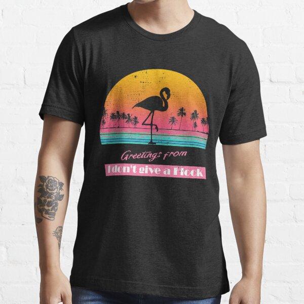 Flamingo 80s Vaporwave Retro Ocean Sunset Essential T-Shirt