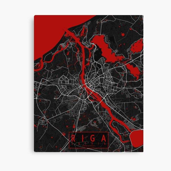 Riga City Map of Latvia - Oriental Canvas Print