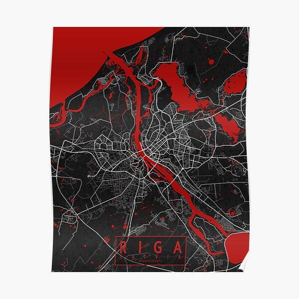 Riga City Map of Latvia - Oriental Poster