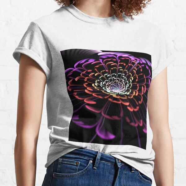 Symphonic Bloom Fractal Art Beautiful Geometric Flower Classic T-Shirt