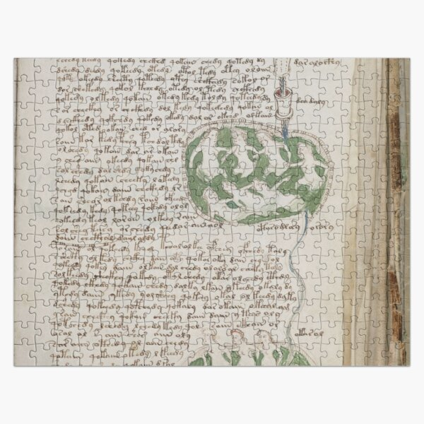 Voynich Manuscript. Illustrated codex hand-written in an unknown writing system Jigsaw Puzzle