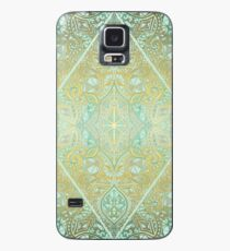 Mint & Gold Effect Diamond Doodle Pattern Case/Skin for Samsung Galaxy