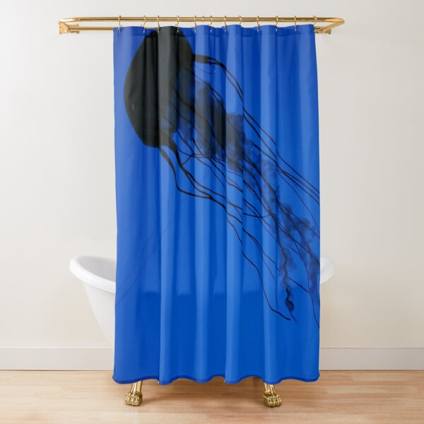 Jelly Fish Blue Water Background Sea Ocean  Shower Curtain