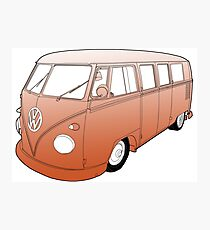 Orange VW Camper Photographic Print