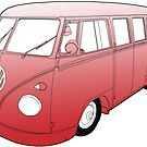 Red VW Camper by Colin Bentham