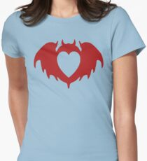 Clandestine Bat Heart - Red Womens Fitted T-Shirt