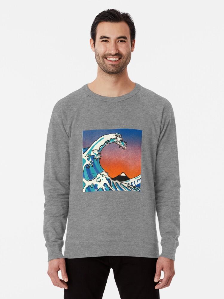 'Great Wave Stencil Art' Lightweight Sweatshirt by Sam Simpson-Crew