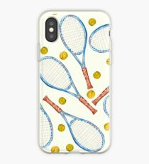 pattern with tennis rackets with tennis balls iPhone Case