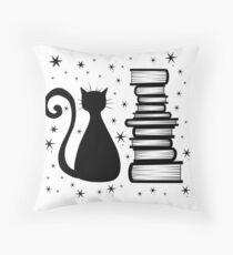 A Cat & Books Throw Pillow