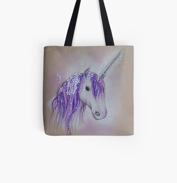 Lilac Dreaming Unicorn All Over Print Tote Bag