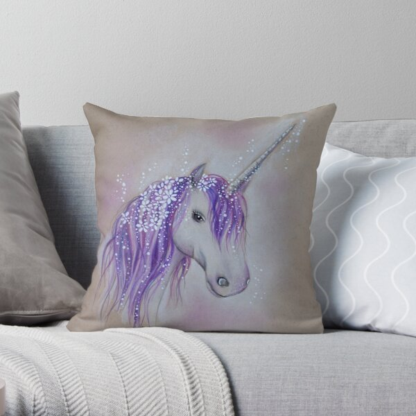 Lilac Dreaming Unicorn Throw Pillow