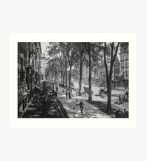 Broadway in Saratoga Springs, New York, ca 1915 (full size) Black & White version Art Print
