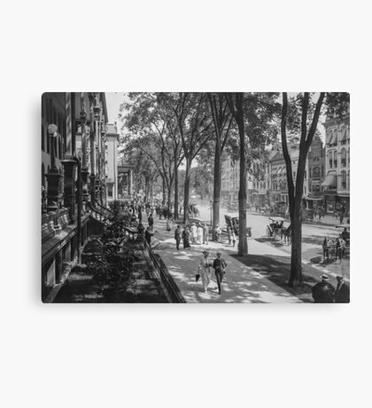 Broadway in Saratoga Springs, New York, ca 1915 (full size) Black & White version Canvas Print