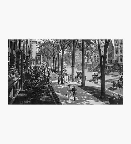 Broadway in Saratoga Springs, New York, ca 1915 (16:9 crop) Black & White version Photographic Print