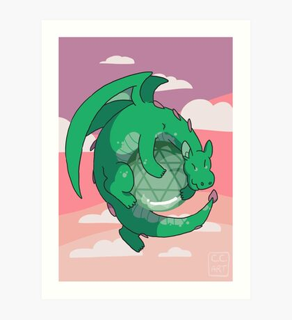 Aventurine Gemstone Dragon Art Print
